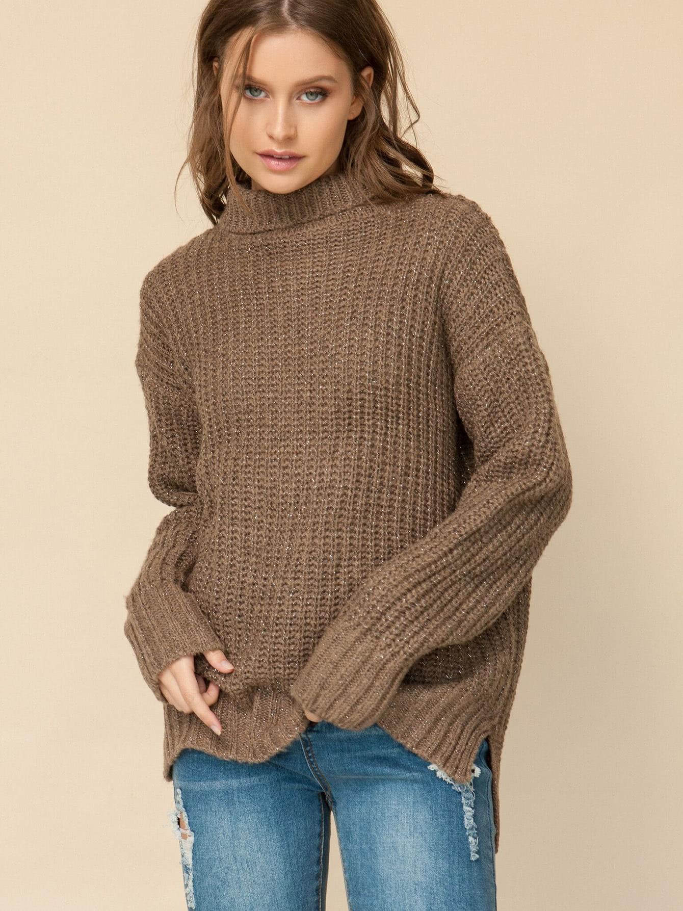 Mock Neck Drop Shoulder Dip Hem Sweater slit drop shoulder high neck sweater