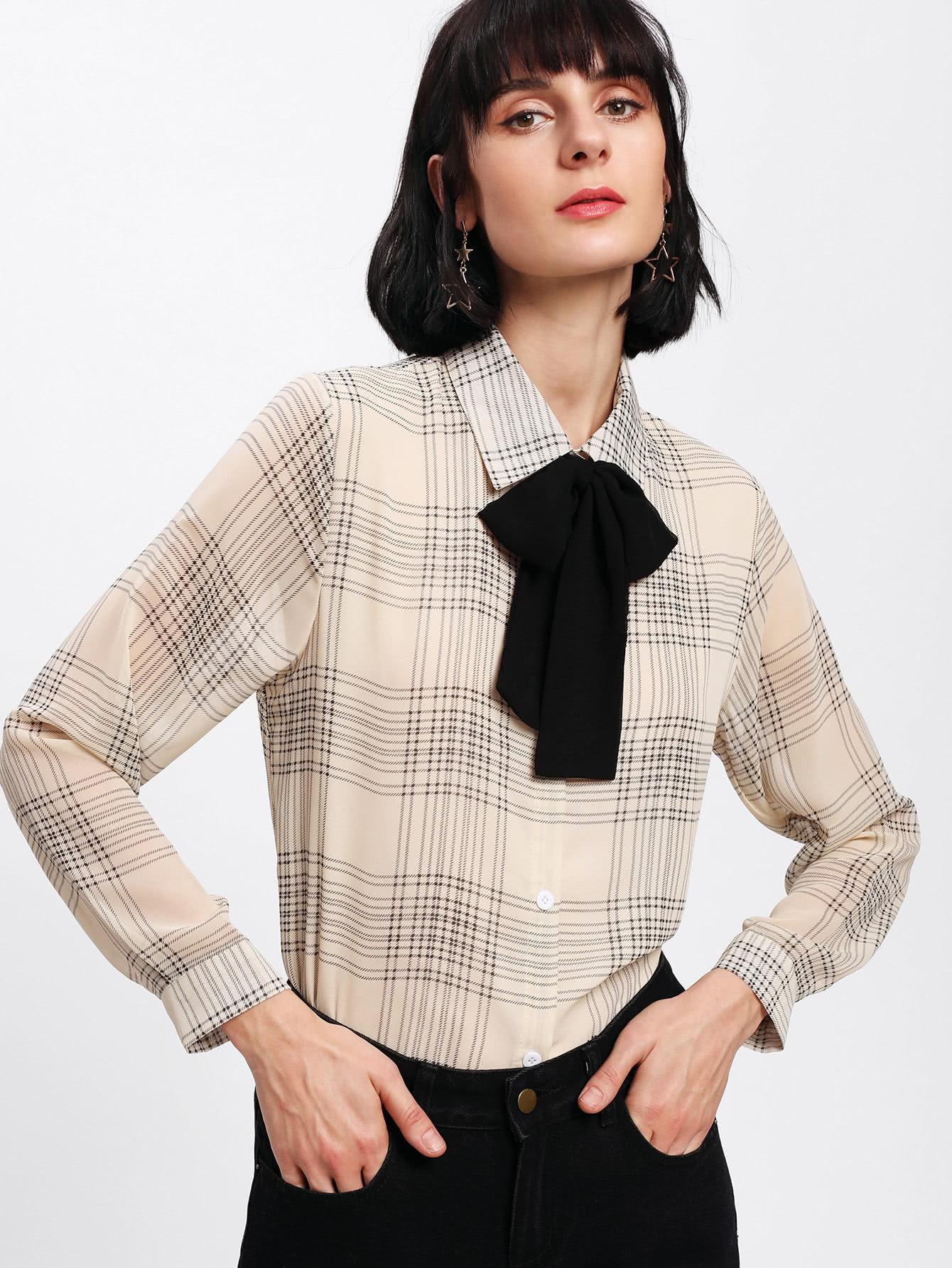 Tartan Plaid Bow Tie Neck Shirt pu belted tartan shirt