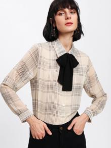 Tartan Plaid Bow Tie Neck Shirt