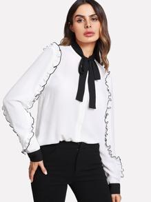 Contrast Tied Neck Frilled Embellishing Sleeve Shirt