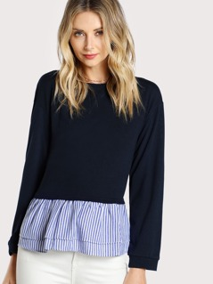 Contrast Layered Striped Hem Tee