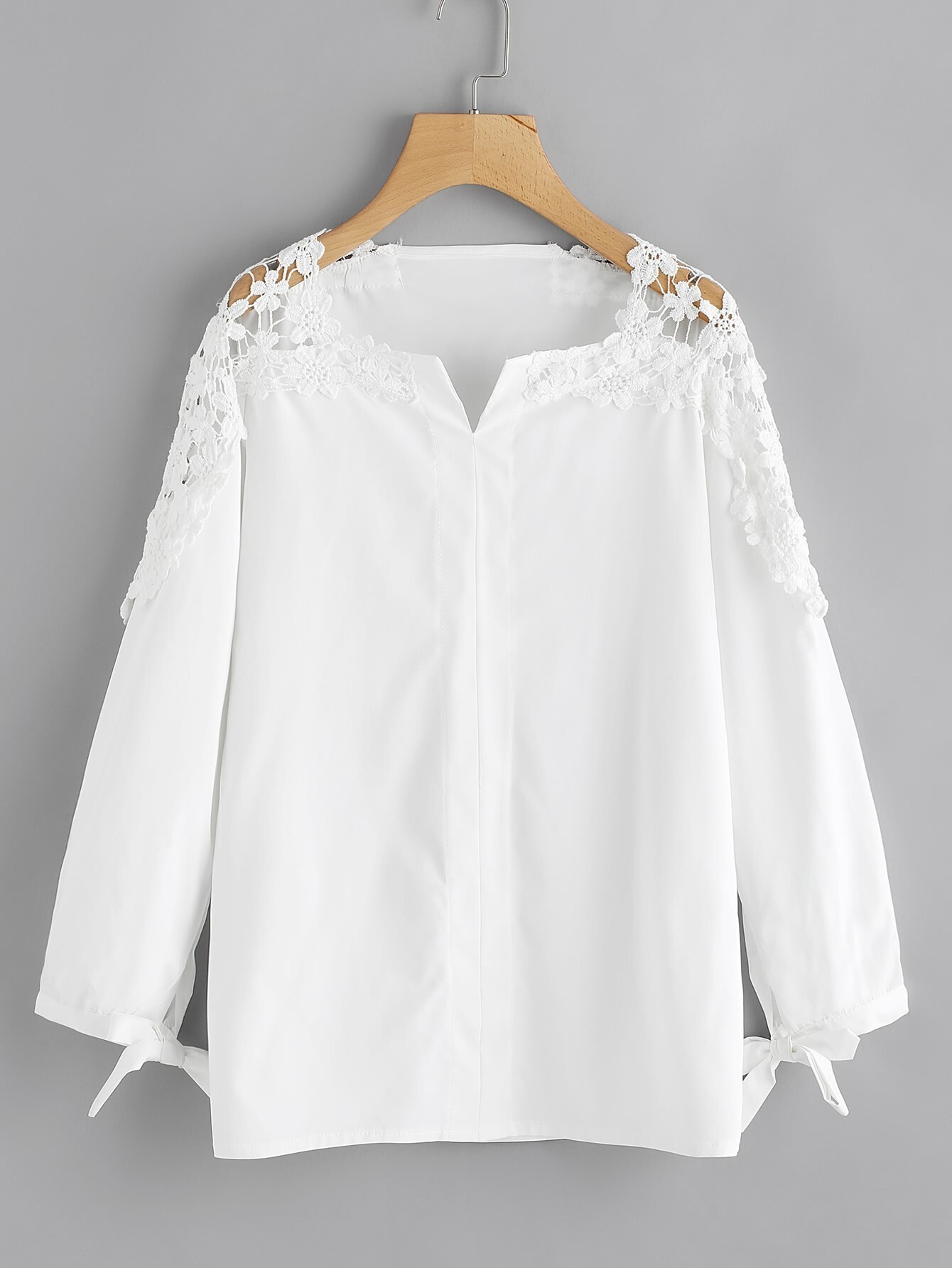 Купить Модная блуза с бантом и кружевной вставкой, null, SheIn