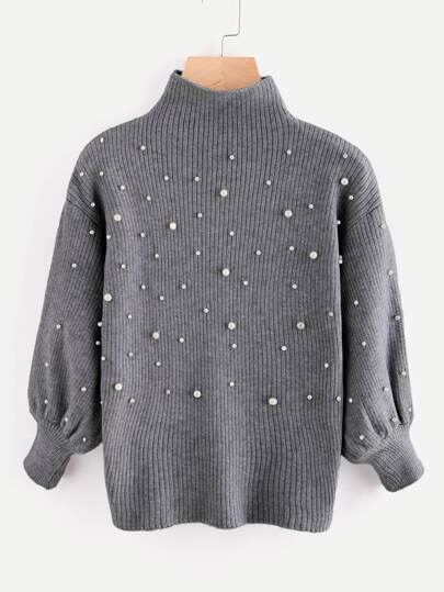 Pearl Beading Mock Neck Balloon Sleeve Jumper