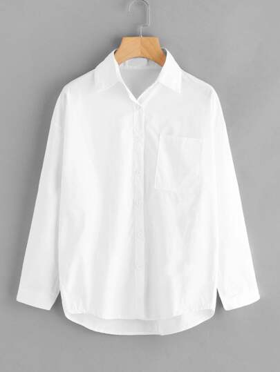 Dip Hem Chest Pocket Single Breasted Shirt