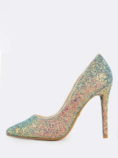 Pointy Toe Glitter Pump BLUE