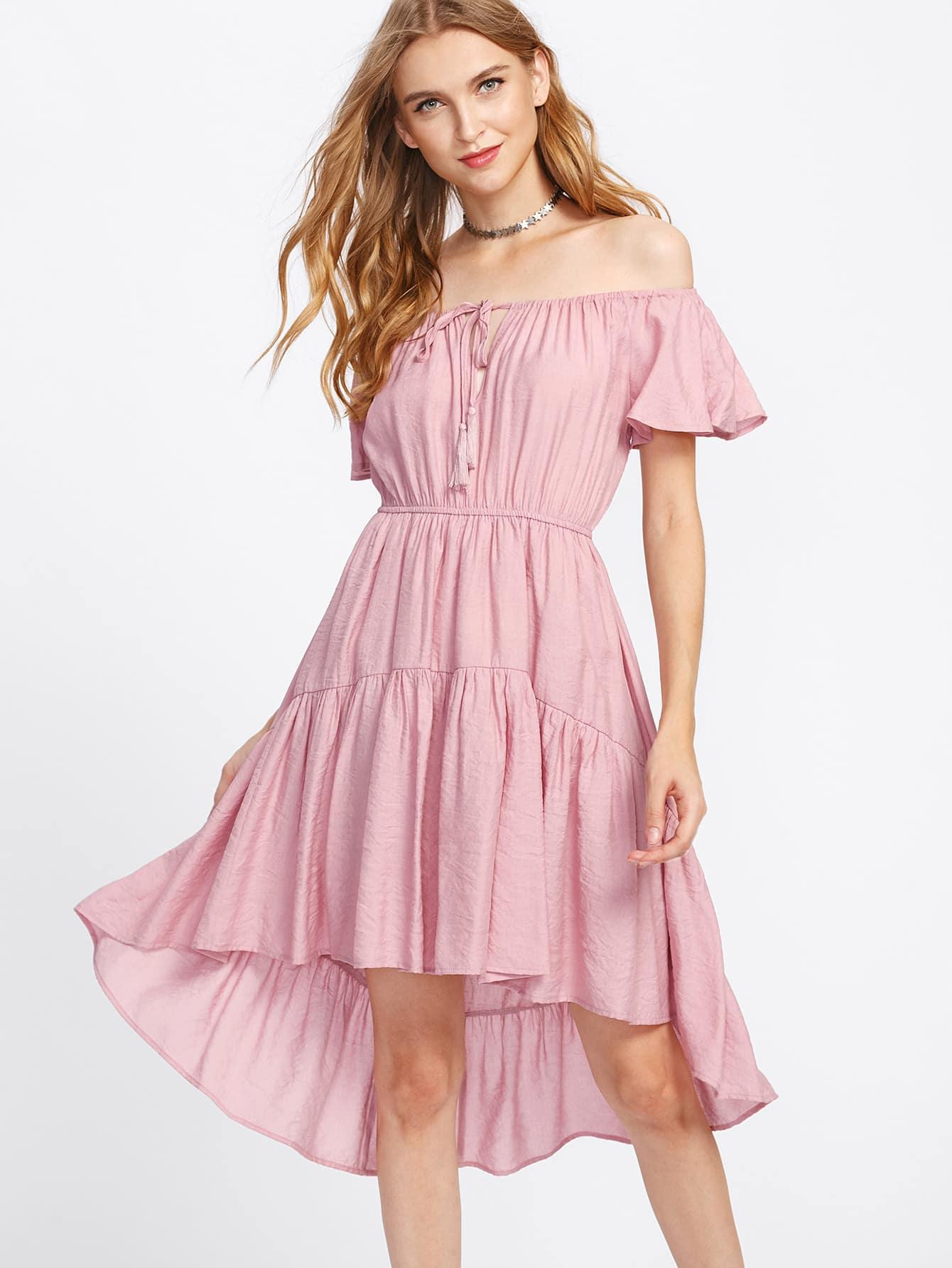 Flutter Sleeve Ruffle Dip Hem Dress striped sleeve ruffle dip hem dress