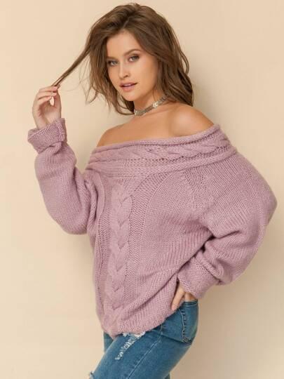 Jersey tejido hombro al aire - violeta
