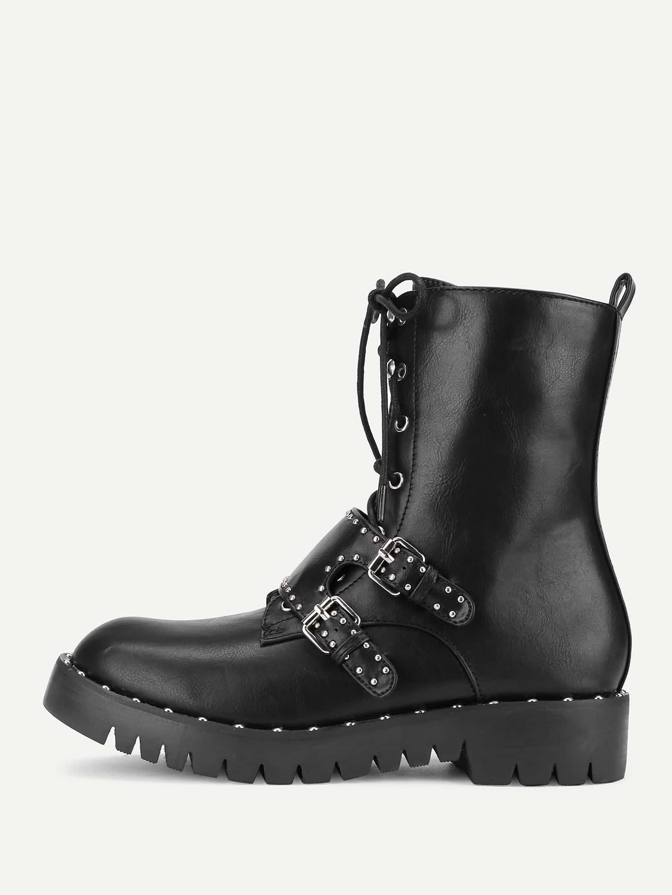 Lace Up Studded Detail Ankle Boots