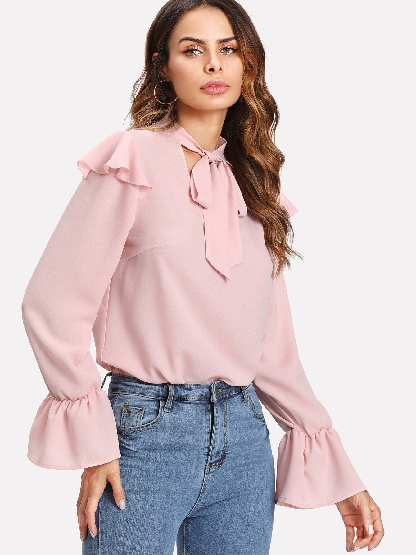 Flounce Shoulder And Cuff Tied Neck Blouse цена и фото