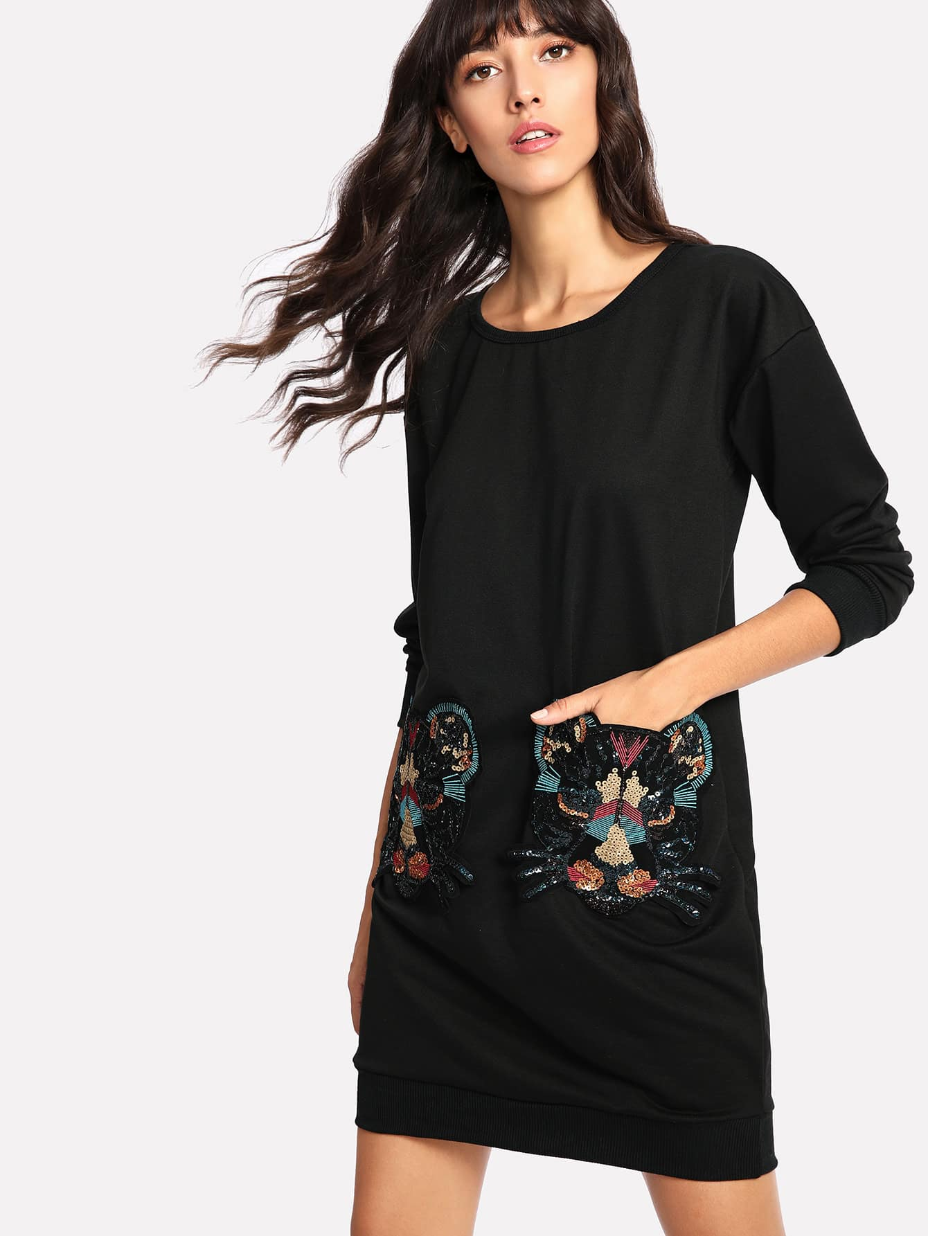 Contrast Sequin Tiger Pockets Sweatshirt Dress