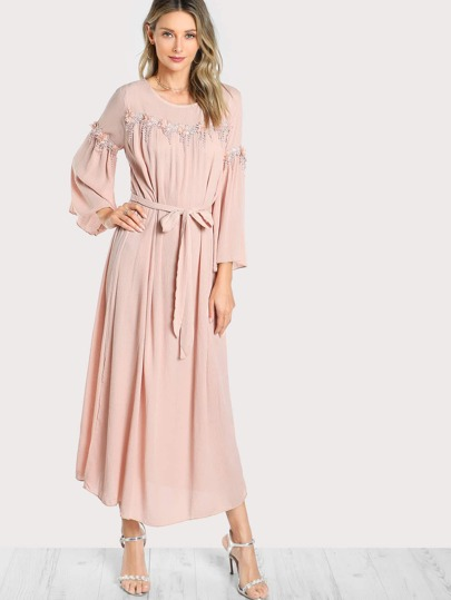 Flower Applique Detail Hijab Evening Dress