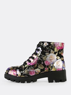 Fabric Textured Sole Lace Up Boots BLACK