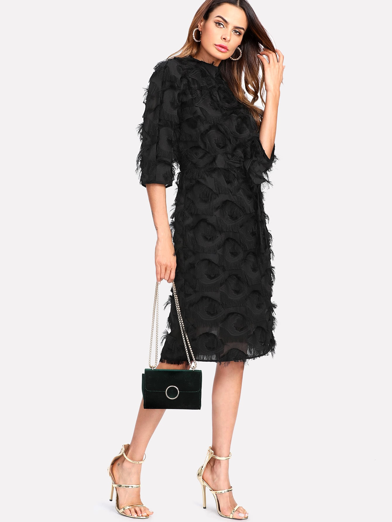 Layered Fringe Detail Pencil Dress frill layered pearl detail sweatshirt dress