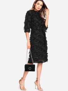 Layered Fringe Detail Pencil Dress