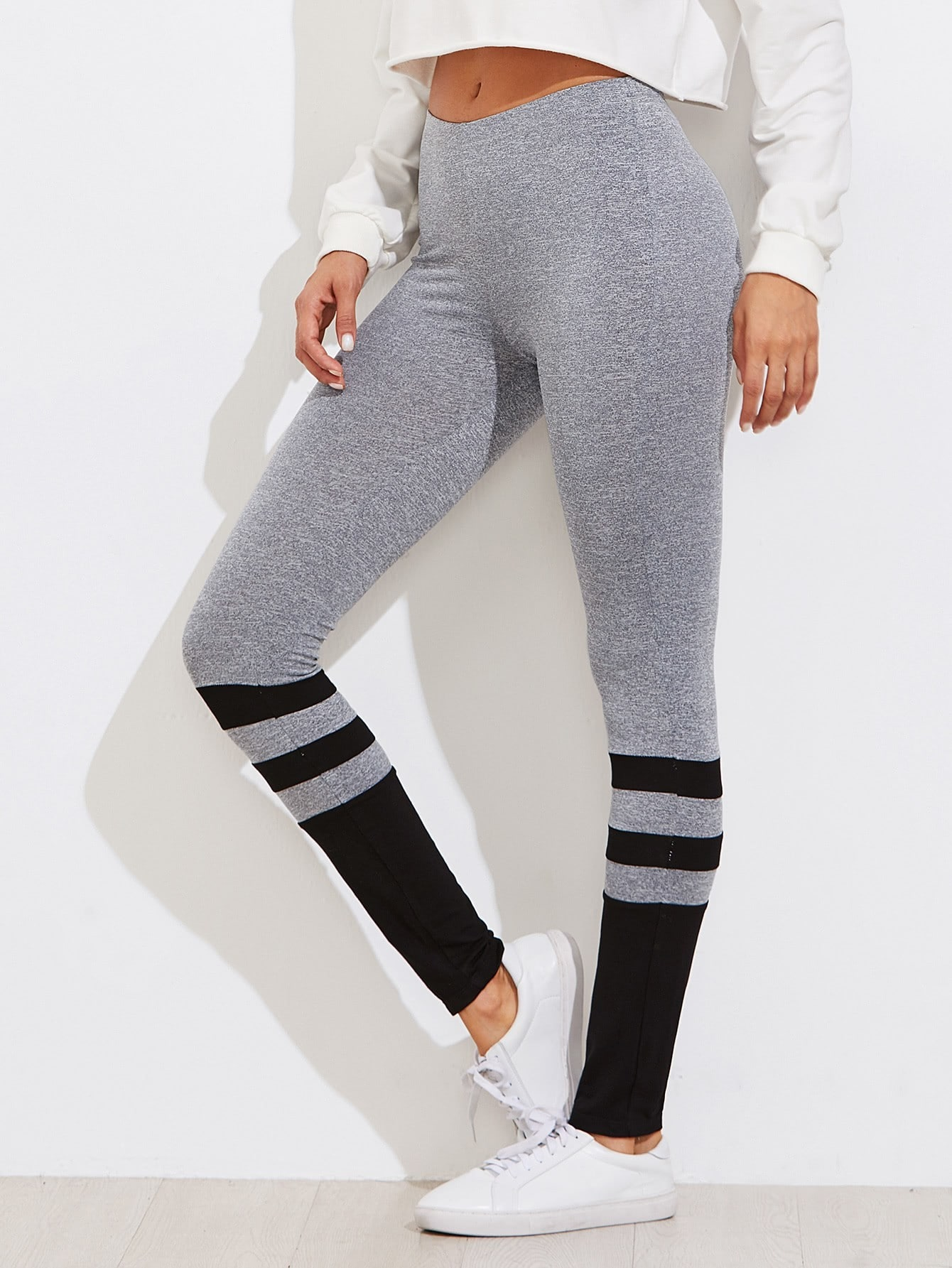 Two Tone Striped Marled Knit Leggings striped tape detail two tone sweatshirt