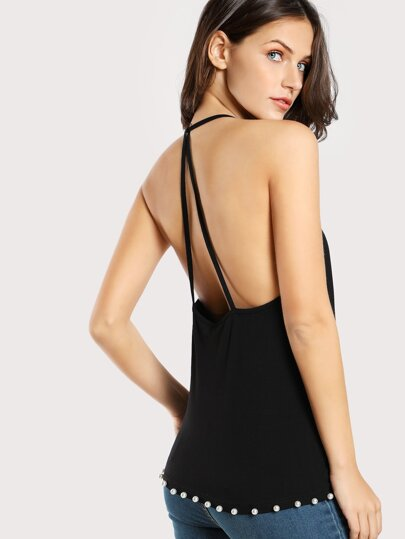 Pearl Beading Strappy Back Cami Top