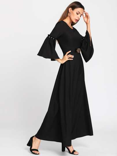 Pearl Beading Trumpet Sleeve Belted Hijab Long Dress