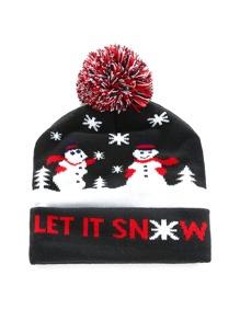 Christmas Snowman Pattern Pom Pom Beanie Hat