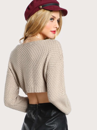 Cable Knit Cropped Sweater Top TAUPE -SheIn(Sheinside)