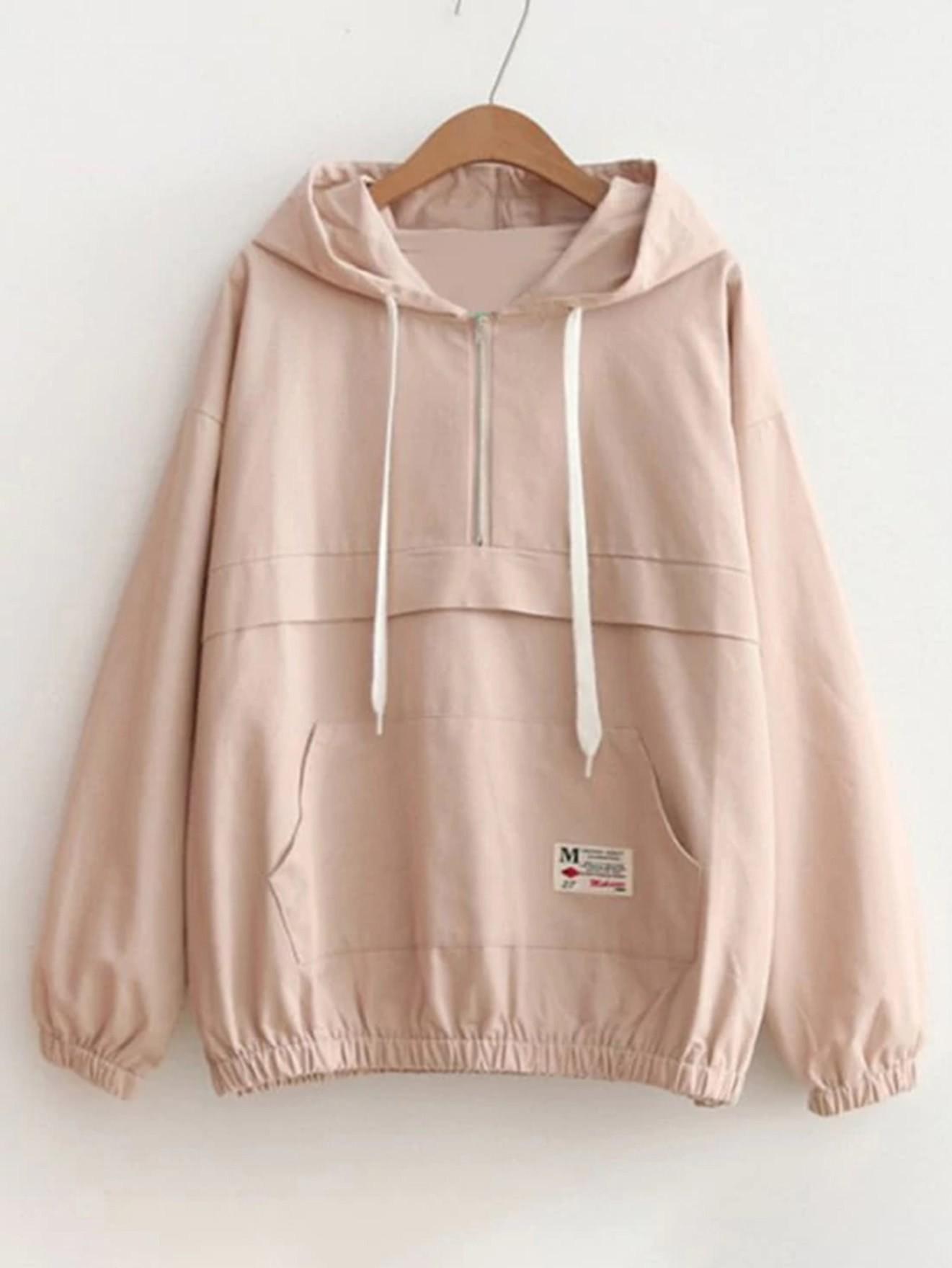 Drop Shoulder Kangaroo Pocket Anorak Jacket plus size plain drop shoulder hoodie with pocket
