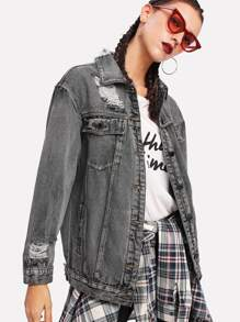 Dark Wash Rips Detail Boyfriend Denim Jacket