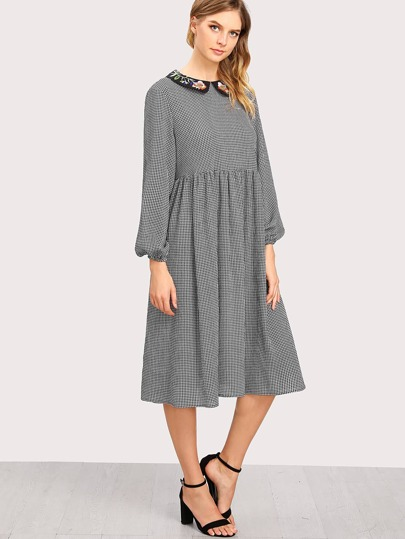 Embroidered Peter Pan Collar Gingham Smock Dress