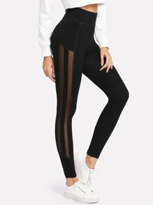 Striped Mesh Panel Leggings