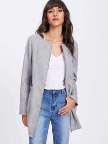 Pocket Detail Zip Up Collarless Coat