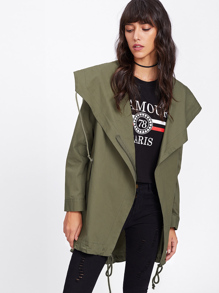 Drawstring Hem Jacket With Exaggerated Hoodie