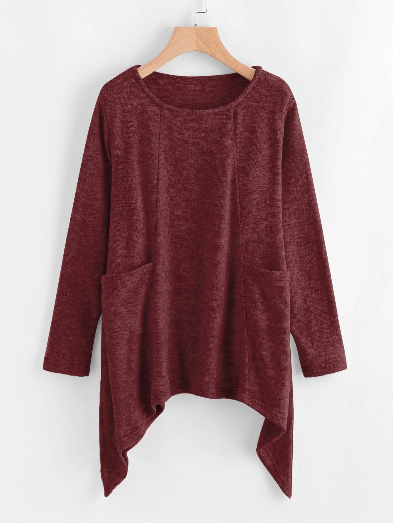 Image of Asymmetrical Hem Knit Sweater