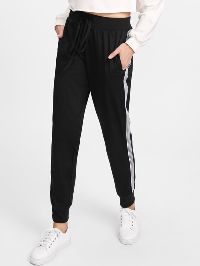 Drawstring Waist Striped Side Pants
