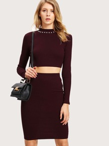 Pearl Embellished Neck Crop Tee & Skirt Set