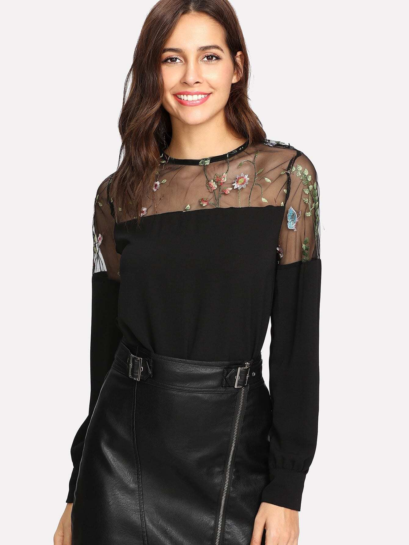 Embroidered Mesh Panel Blouse цена и фото