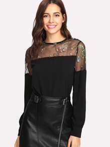 Embroidered Mesh Panel Blouse