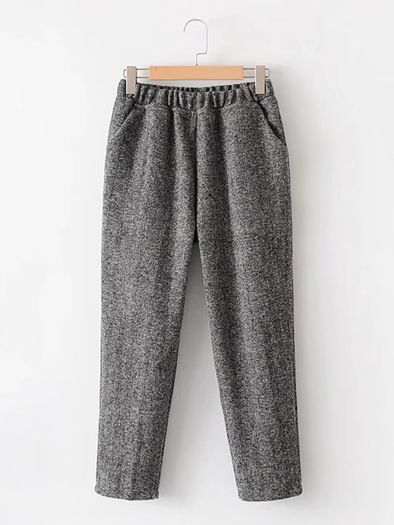 Wool Blend Chevron Pants