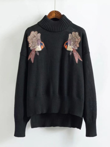 Embroidered Bird Step Hem Sweater