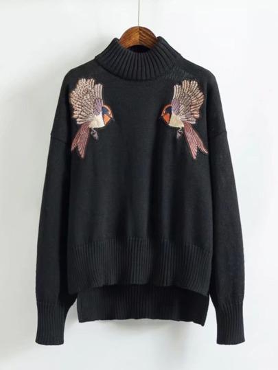 Embroidered Bird Step Hem Sweater