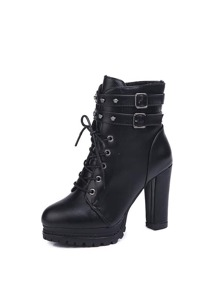 Double Buckle Block Heeled Boots