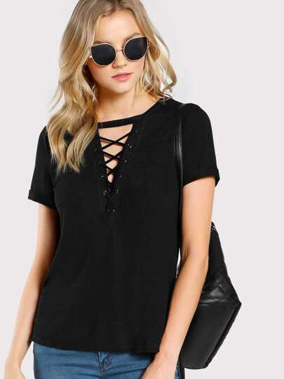 Grommet Lace Up Plunge Neck Tee