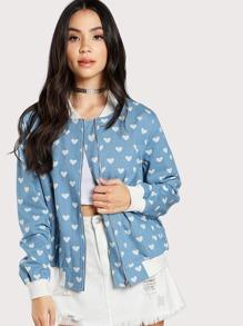 Модная джинсовая куртка с принтом