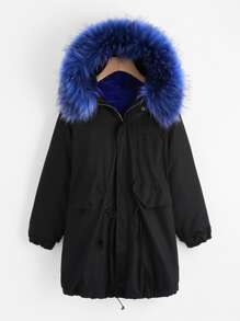 Faux Fur Trim Drawstring Fleece Inside Hooded Coat