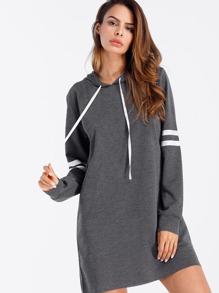 Varsity Striped Hoodie Dress