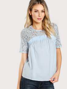 Keyhole Back Insert Lace Frill Top