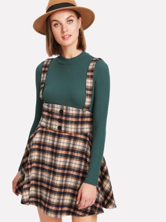 Button Detail Plaid Skirt With Strap