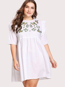 Embroidered Yoke Frilled Babydoll Dress
