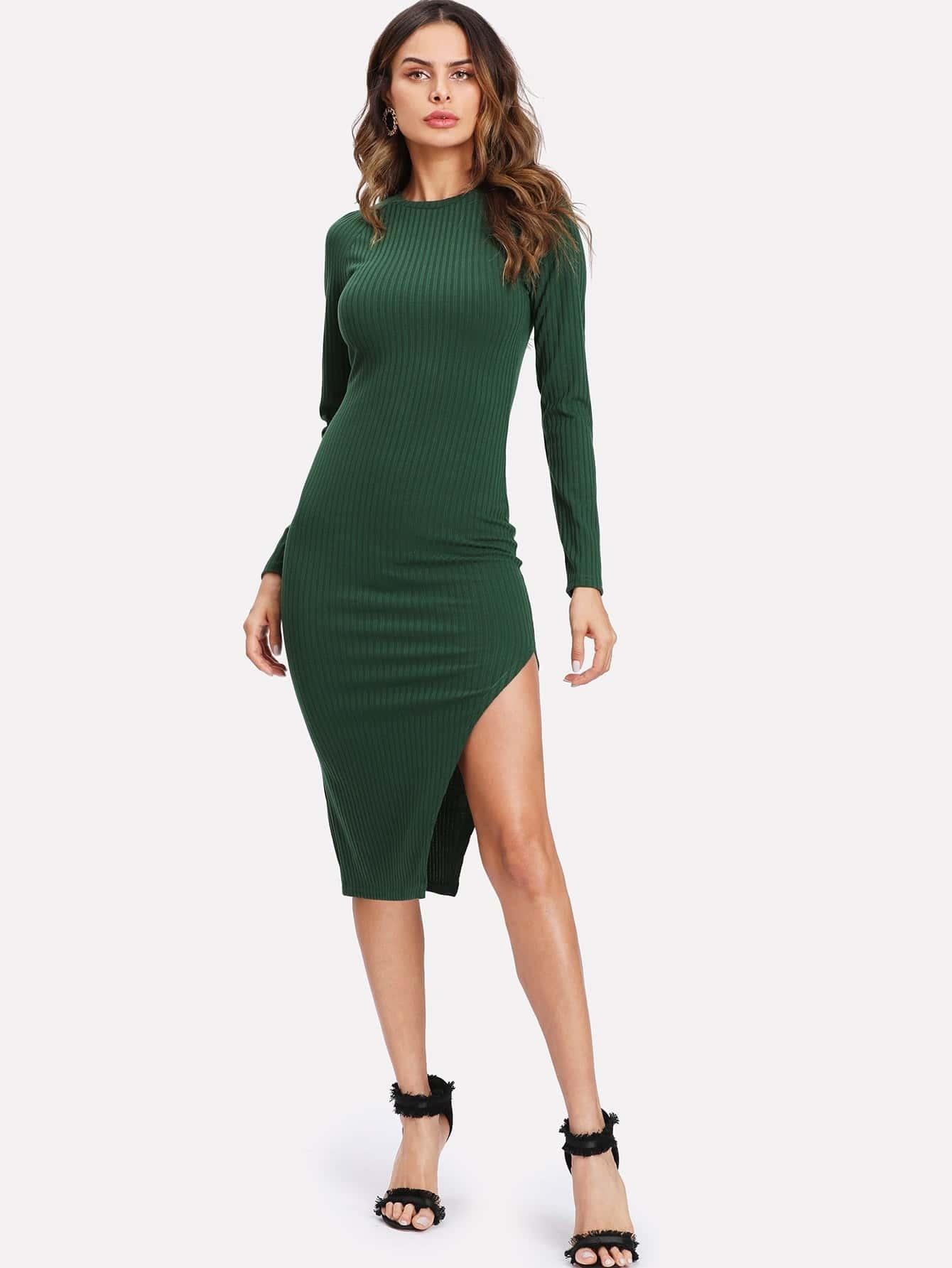 Asymmetrical Slit Hem Ribbed Knit Dress dress171120704