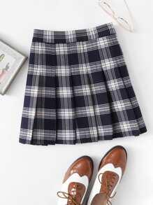 Box Pleated Plaid Skirt