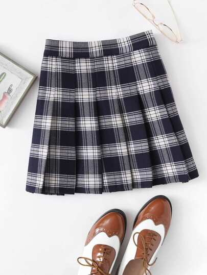 Box Pleated Plaid Skirt