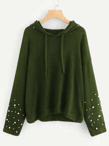 Pearl Beading Drop Shoulder Hooded Sweater