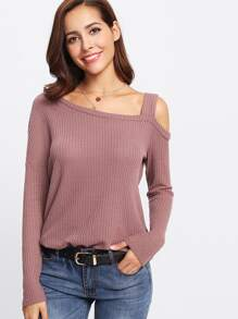 Slit Side Asymmetrical Neck Top